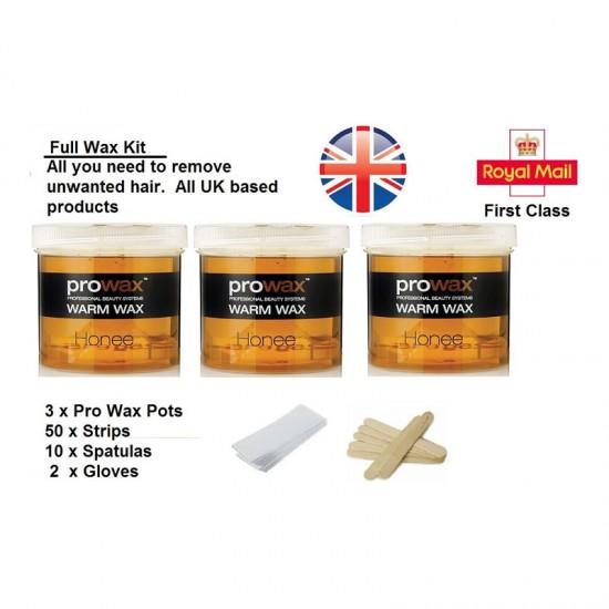 Hair Removal Wax Kit Includes Wax Strips Spatulas 3 Wax Pots Glove NO WAX HEATER